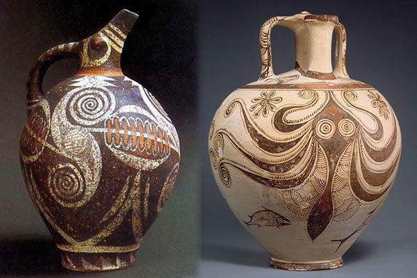 Pote de polvo Minoan destruído