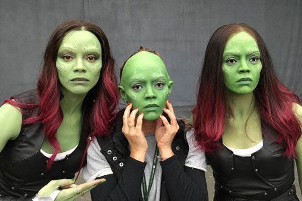 Zoe Saldana e suas dublês
